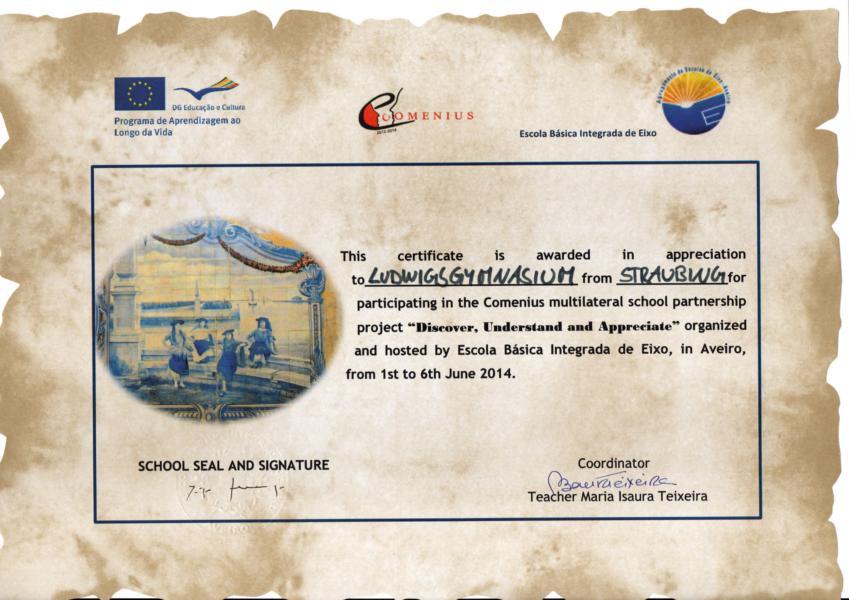 Zertifikat für das Luggy zur Teilnahme am Comenius-Projekt 2014